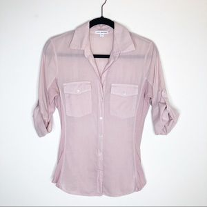 James Perse Standard Panel Button Down, Pink, 2/M